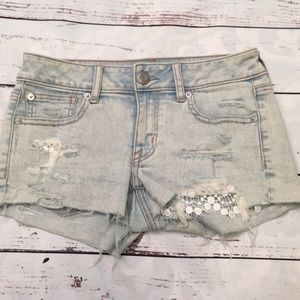 American Eagle lace trimmed denim shorts